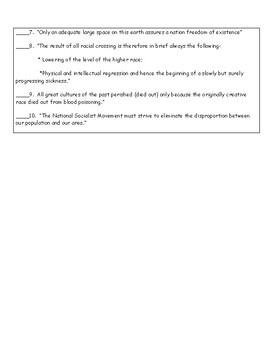 Hitler Mein Kampf Reading Activity and Answer Key