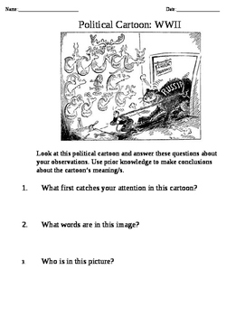 Hitler Political Cartoon for World History Class