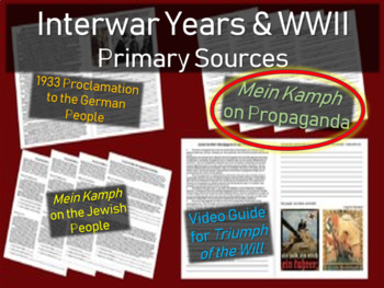 Hitler: Primary Source w/ guiding questions: Mein Kamph (on propaganda)