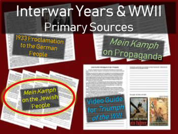 Hitler: Primary Source w/ guiding questions: Mein Kamph (on the Jewish topic)