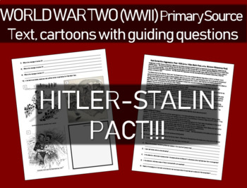 Hitler-Stalin Pact (text with guiding questions & political cartoons to analyze)