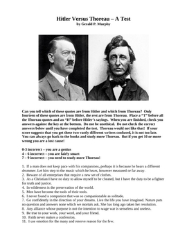 Hitler Versus Thoreau, A Test