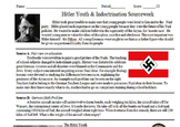 Hitler Youth & Indoctrination Primary and Secondary Source Assignment