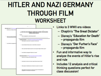 Hitler and Nazi Germany Through Film worksheet - WWII - US/Global/World History