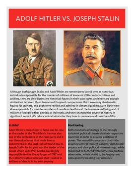Hitler and Stalin Comparison Handout