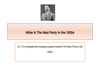 Hitler and The Nazi Party 1920-1929