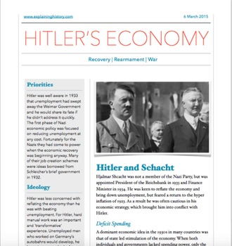 Hitler's Germany - evaluating the evidence activity