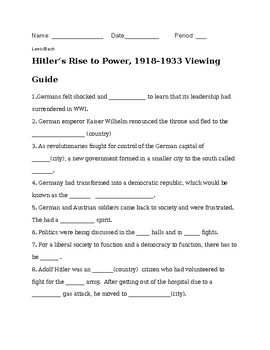 Hitler's Rise to Power, 1918–1933 Viewing Guide