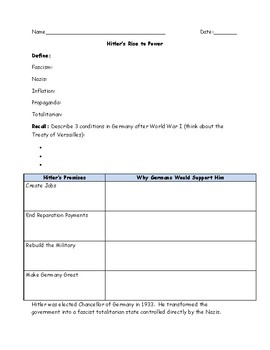 Hitler's Rise to Power Worksheet and Answer Key