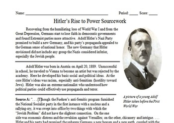 Hitler's Rise to Power Primary & Secondary Source Assignment