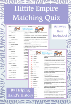 Ancient Hittites Activity Matching with Answer Key