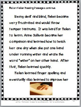 Helen Keller, a Social Studies Lesson Plan Packet  With Literacy Activities