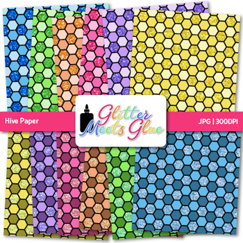 Rainbow Hive Paper {Scrapbook Backgrounds for Task Cards & Brag Tags}