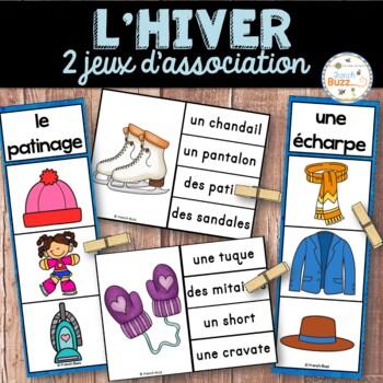 Hiver - Ensemble 2 jeux d'association - French Winter Cards