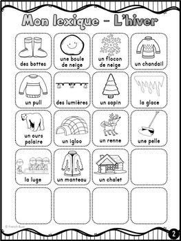 Hiver - French Winter - mur de mots et lexique (34 mots)