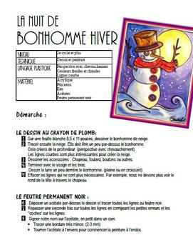 Hiver: La nuit de Bonhomme hiver. Bonhomme de neige arts plastiques