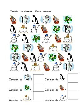 Hiver Winter Counting worksheets in French