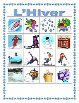 Hiver (Winter in French) Bingo