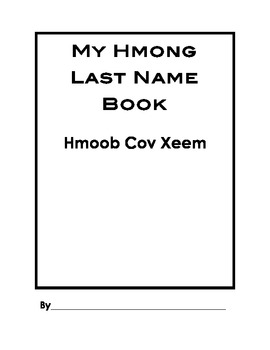 Hmong Last Name activity book