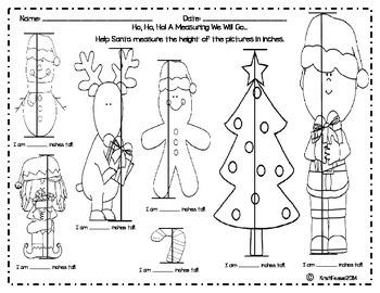 Ho, Ho, Ho! A Santa Measuring By Inches Activity