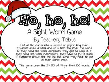 Ho, Ho, Ho! A Sight Word Game