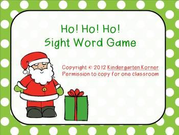 Ho! Ho! Ho! Game for Sight Words