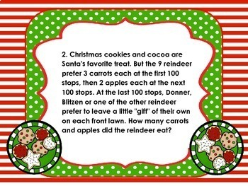 4th Grade Ho Ho Ho Multiplication Holiday Word Problem Task Cards Common Core