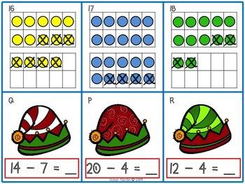 Ho! Ho! Ho! Ten Frame Subtraction Matching