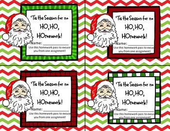 Ho Ho Homework Pass for Student Christmas gift