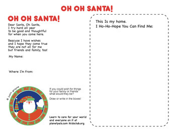 HoHo-Holiday Dear Santa Letter Activity Teach Kids To Care OH-OH Santa wOur Poem