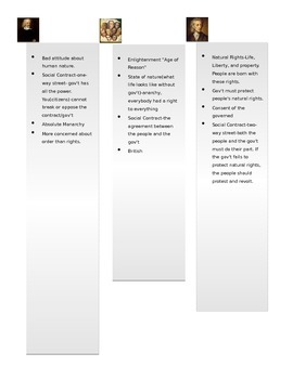 Hobbes and Locke Compare/Contrast Worksheet
