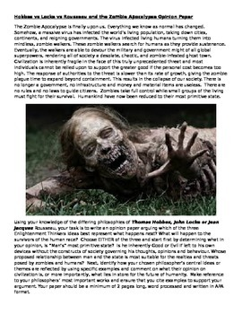 Hobbes vs Locke vs Rousseau and the Zombie Apocalypse Opinion Paper