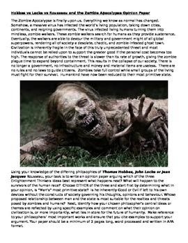 Hobbes vs Locke vs Rousseau and the Zombie Apocalypse Opin