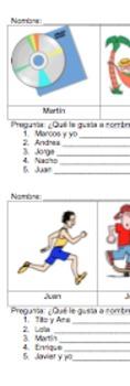 Gustar Hobbies Information Gap Spanish Avancemos Unidad 1 Lección 1 U1L1