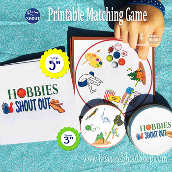 """Hobbies Matching Game Shout Out 3"""" & 5 - Learn any language - Spanish, French"""