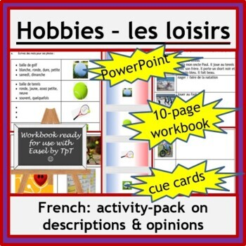 French Immersion or Core French - loisirs, hobbies: wkbk, PowerPoint, cards