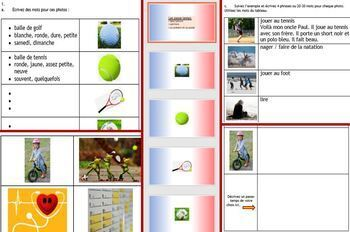 French en français loisirs leisure workbook PowerPoint cards