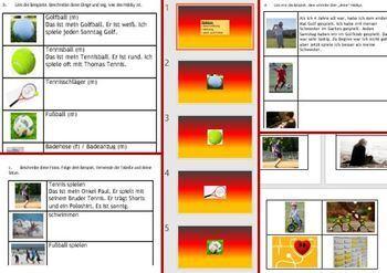 German Freizeit leisure  Descriptions opinions 2 tenses workbook
