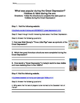 Hobbies of the Great Depression Webquest