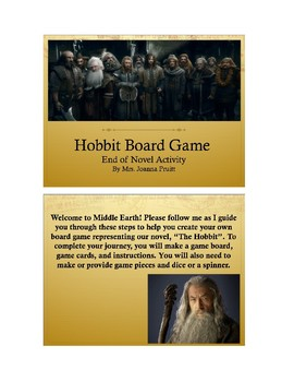 Hobbit Board Game (Editable Post Reading Activity)