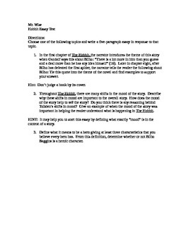 Hobbit Essay Prompts