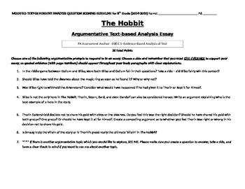 Hobbit Text-Based Analysis Argumentative Essay w/ Rubric
