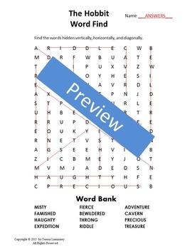 Hobbit Word Find Novel Study {Bell Ringer}