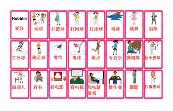 Mandarin Chinese Hobby unit board game (爱好单元棋盘游戏)