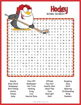 Hockey Word Search Worksheet