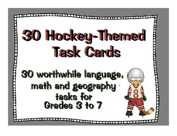 Hockey: 30 Hockey-Themed Language, Math and Geography Tasks