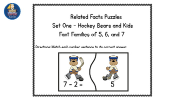 Hockey Bears Math Fact Families Addition and Subtraction