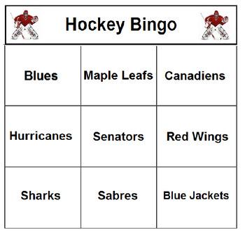 Hockey Bingo