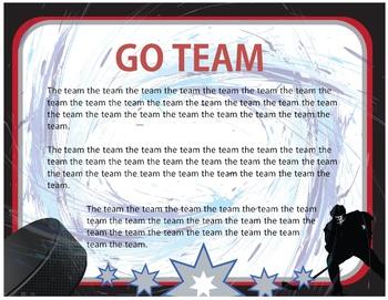 Hockey Bulletin Border, Editable Name Tags & Banner, with Editable Sign