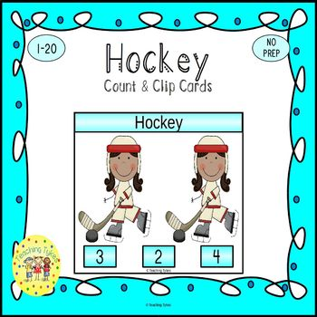 Hockey Count and Clip Sports Task Cards